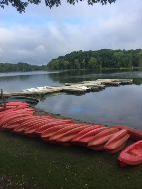 Kayaks in Chain O' Lakes State Park, Indiana.
