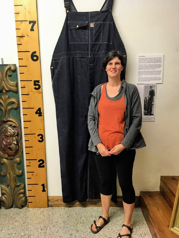 Robert Wadlow's (world's tallest man) overalls in the Miami County Museum, Peru, Indiana.