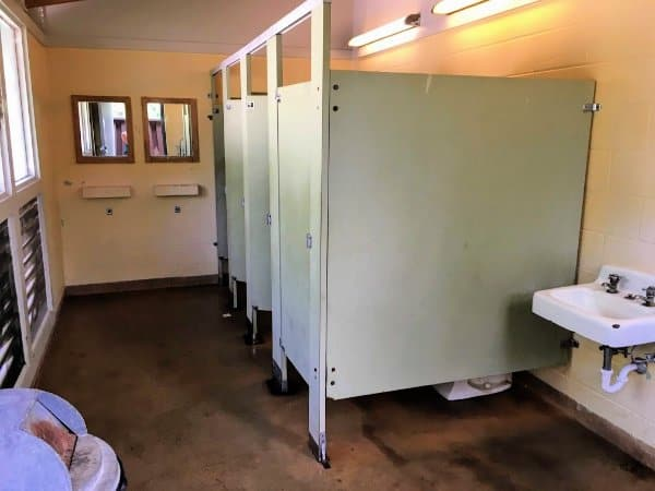 Inside the bathhouse at Mississinewa Lake Campground, Indiana.