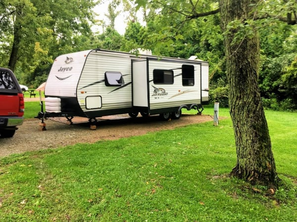 Our Jayco in campsite 102 at Mississinewa lake, Indiana.