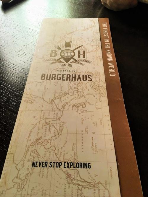 The menu at Burgerhaus in Carmel, Indiana.