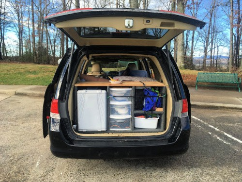 Our minivan camper, which we ditched for an Airbnb this trip.